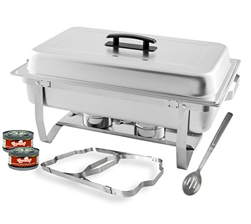 TigerChef 8 Quart Full Size Stainless Steel Chafer with Folding Frame and Cool-Touch Plastic on top - Includes 2 Free Chafing Gels and Slotted Serving Spoon (1, 8 Quart Chafer)