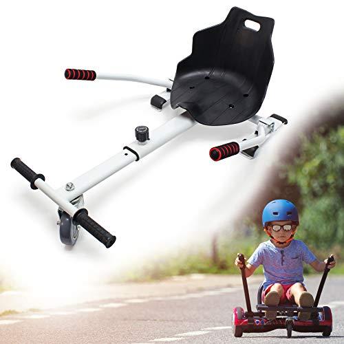 Wiltec Sitzscooter in Weiß, Verstellbarer Kartsitz für Elektroscooter bis 120 kg