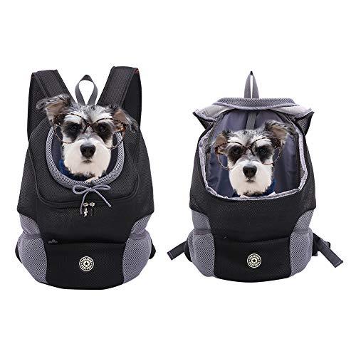 Kuoser Airline - Mochila para perro o gato, transpirable, cómoda bolsa frontal para transportar mascotas con diseño a prueba de escape, color negro para viajes al aire libre, ciclismo, senderismo