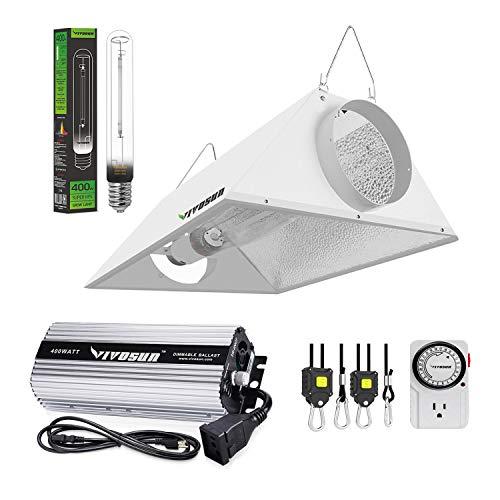 VIVOSUN Hydroponic 400 Watt HPS Grow Light Air Cooled Reflector Kit - Easy to Set up, High Stability & Compatibility (Enhanced Version)