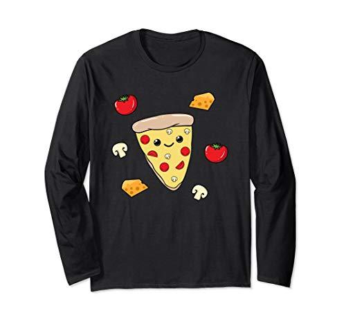 Süßes Funghi Pizza Shirt Pizzastück Mädchen Fast Food Langarmshirt