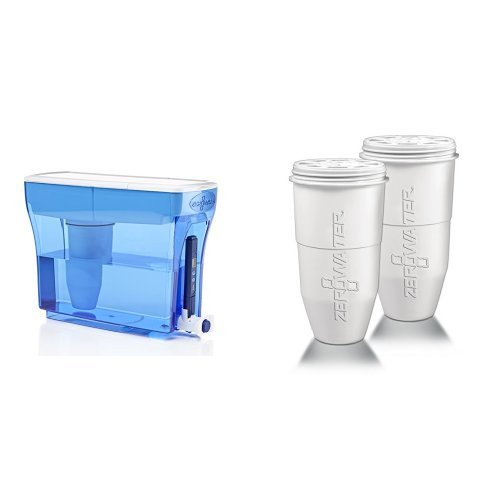 ZeroWater 23 Cup Dispenser with Free TDS Meter (Total Dissolved Solids) - ZD-018 and ZeroWater Replacement Filter for Pitchers, 2-Pack - ZR-017 Bundle