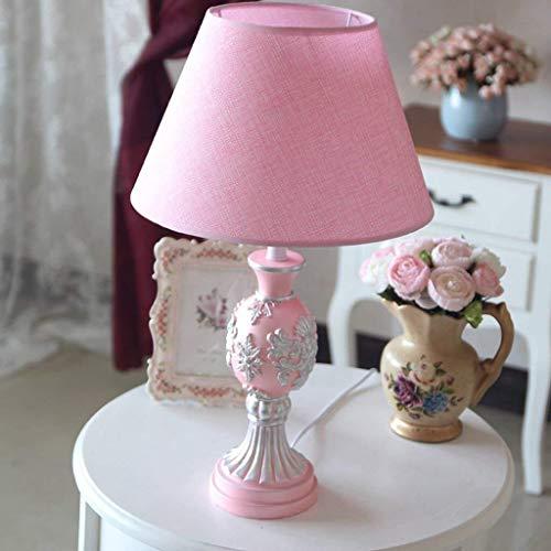 WEI-LUONG Lámparas de mesa, personalidad simple del estilo europeo dormitorio decorativo regulable de la lámpara, elegante en la habitación rosa de la lámpara de resina, E27 o E14 luz de la noche de l