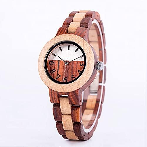 Ver a Las señoras Moda de Madera Reloj de Cuarzo de Madera Sandalia Movimiento japonés Reloj Retro Combinación de tecnología y Salud de la Naturaleza