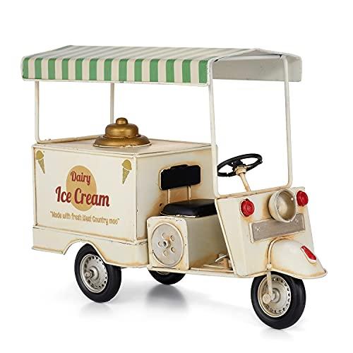 Decoración de chapa de carro de helado, techo verde/blanco, moto modelo retro vintage nostálgica decoración móvil helado