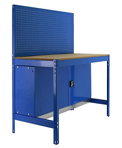Banco de trabajo BT2 con armario Simonwork Azul/Madera Simonrack 1445x910x610 mms - Banco de trabajo con panel - mesa de bricolaje 400 Kgs de capacidad por estante