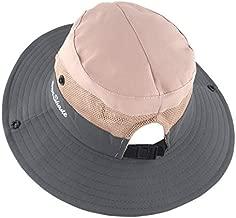Muryobao Women's Summer Sun Hat Wide Brim Ponytail Bucket Hats Adjustable Foldable Safari Fishing Cap for Beach Gardening Pink