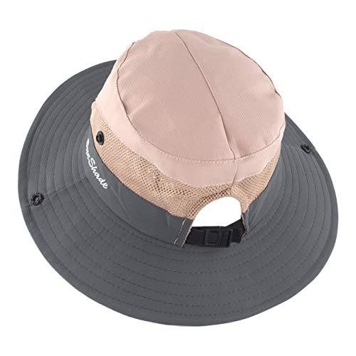 Muryobao - Sombrero de verano para mujer, ala ancha, malla, ajustable, plegable, estilo boonie, para pesca, safari, color rosa