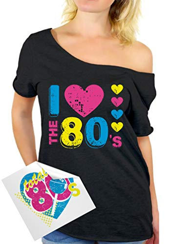 Awkward Styles Women's I Love The 80's Off The Shoulder Tops for Women T Shirts for 80's Fans + Sticker Gift Black 2XL
