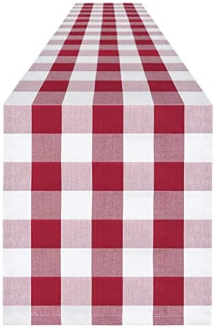 Syntus 14 x 72 inch Buffalo Check Table Runner Cotton Polyester Blend Handmade White and Red product image