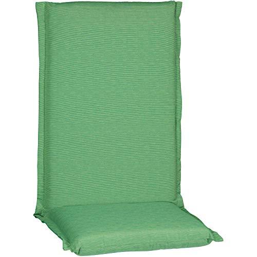 beo HL Zip Coussin d'assise pour Chaise de Jardin à Dossier Haut série Ascot avec Fermeture éclair P211, Vert Clair chiné 120 cm x Largeur 52 cm x épaisseur env. 8 cm