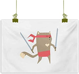 Wall Art Decor Poster Painting Crime Fighter Ninja Cat and Heart Cartoon Superpower Animal Fighter Funny Design Red Brown Canvas Prints for Home Decorations 35
