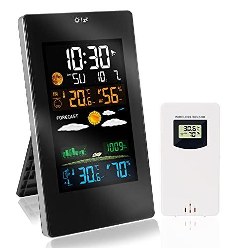 Baytter Wetterstation Funk Multifunktionale mit LCD-Farbdisplay und Außensensor, Digitale Thermometer Hygrometer für Innen und Außen, Wettervorhersage, Datumanzeige & Wecker, Mondphasen, USB-Kabel