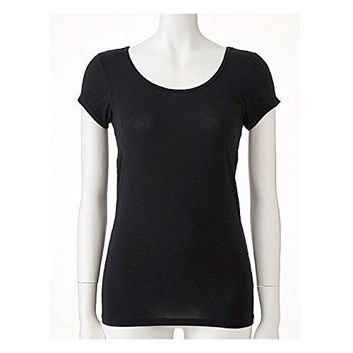[セシール]インナーシャツスマートドライ汗取りパッド付きフレンチ袖高機能シリーズUS-717レディースブラック日本M(日本サイズM相当)