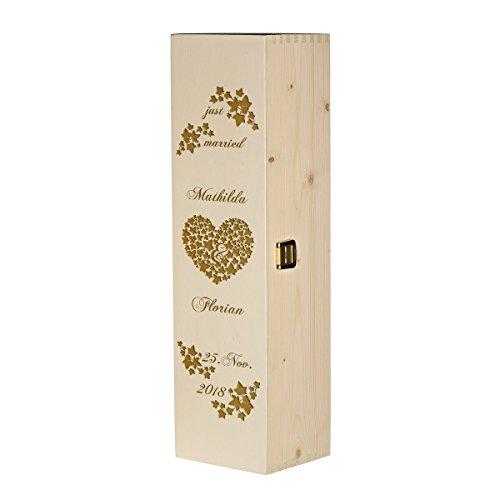 polar-effekt Weinkiste Holzbox mit Gravur – Personalisierte Geschenkbox für Weinflasche Weinpräsent – Aufbewahrungskiste Geschenk zur Hochzeit – Motiv just Married mit Efeuranken