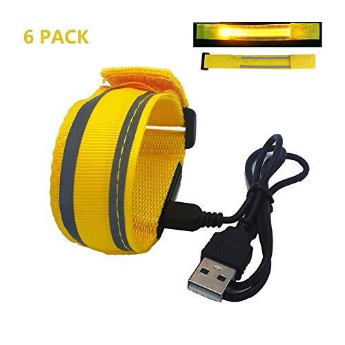 HJHYE 6 Stks De Donkere LED Armbanden, USB Oplaadbare Veiligheid Reflecterende Armband Lichtgevende Armband Proof Armband Voor Hardlopen Fietsen Wandelen Oefening Nacht Hardlopen