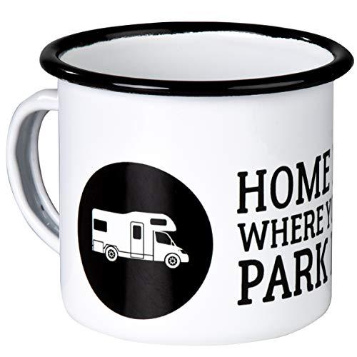 Home is Where You Park IT - Hochwertiger Emaille Becher mit Wohnmobil Alkoven Motiv - leicht und bruchsicher, für Camping und Camper - von MUGSY.de