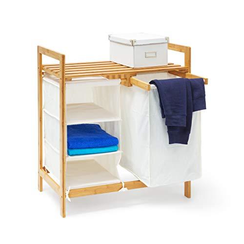 Relaxdays cesto para la Colada de bambú con Linea con Estante y 3 Compartimentos, Aproximadamente 40 L de Tela Blanca, 77 x 69,5 x 36 cm, Natural
