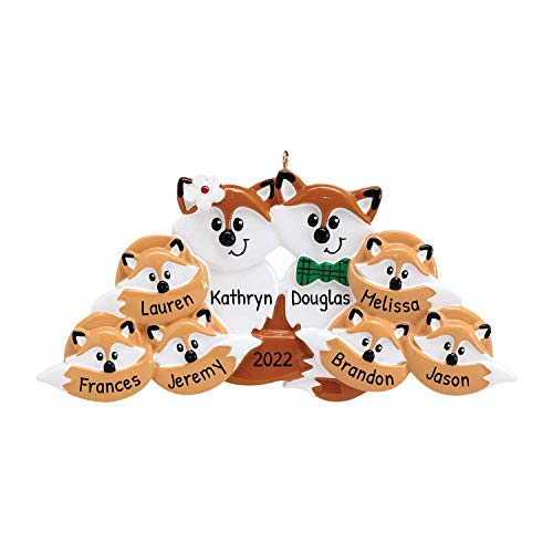 Personalized Red Fox Family of 8 Christmas Tree Ornament 2020 - Cute Parent Child Hug Together Winter Eve Holiday Grand-Kid Gift Tradition Flower Tie Gift Year - Free Customization (Eight)