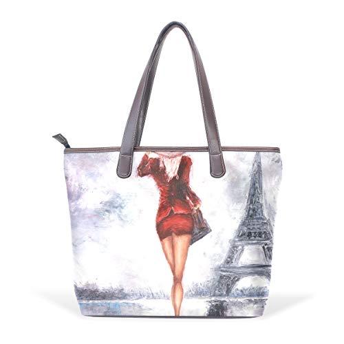 DEZIRO - Bolsa de hombro para mujer con pintura al óleo, color, talla Medium