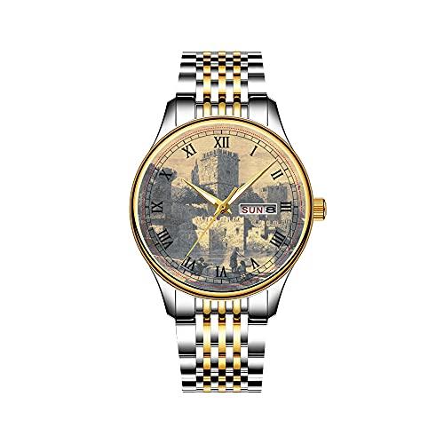 Reloj de hombre con mecanismo de cuarzo japonés con fecha de acero inoxidable, pulsera dorada, caballero medieval, reloj de arte histórico