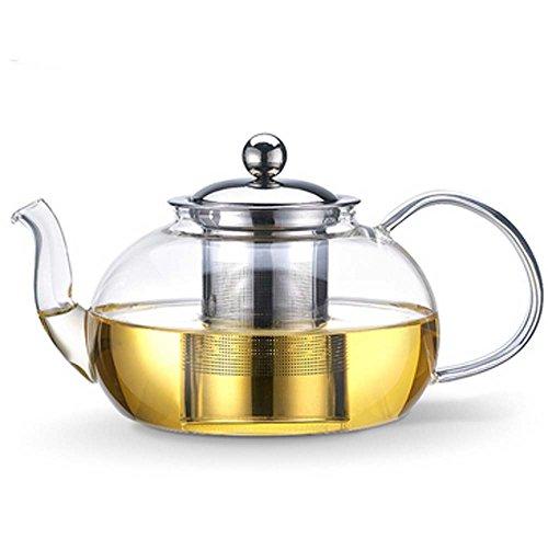 Tosnail Teekanne mit Filtereinsatz/Kanne aus Glas/Deckel und Filtereinsatz aus rostfreiem Edelstahl/für 1,2 Liter