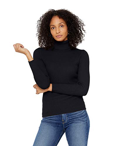 State Cashmere Ribbed Turtleneck Sweater 100% Pure Cashmere Long Sleeve Pullover for Women (Black, Large)