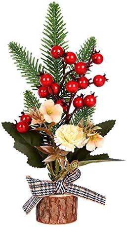 FEEZC Minikunstkerstboom met ornamenten en houten voet Beste keuze kerstdecoratie voor tafel en bureau