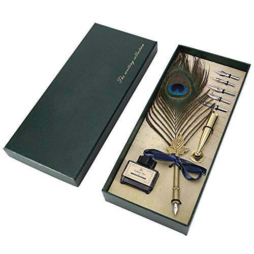 FTVOGUE - Penna stilografica artigianale con piuma, con inchiostro per calligrafia, vintage, con pennini, ottima idea regalo