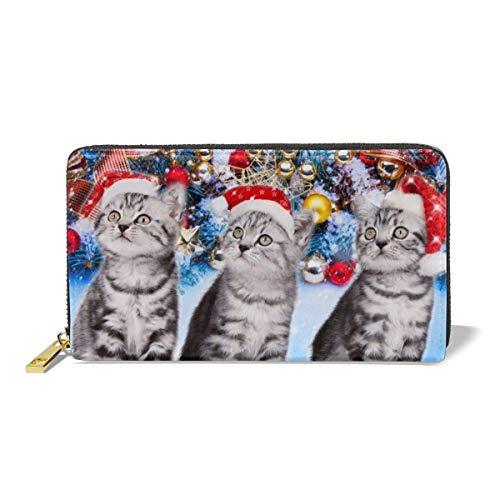 Damen Geldbörse Drei kleine Kätzchen und ein Weihnachtsbaum Designer Premium Leder Reißverschluss Geldbörsen Bedruckte Karte Clutch Halter Geldbörse