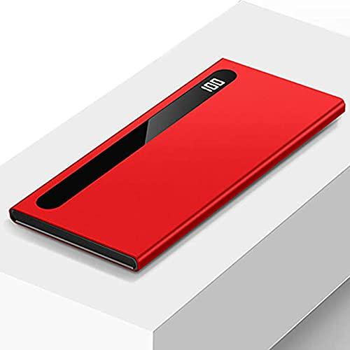 Cargador rápido Banco energía portátil de 100000 mAh, Cargador teléfono 2.1A más Nuevo, Respaldo Externo Doble Salida Paquete batería, Pantalla LED, Banco energía, para iPhone Samsung iPad y más,Rojo