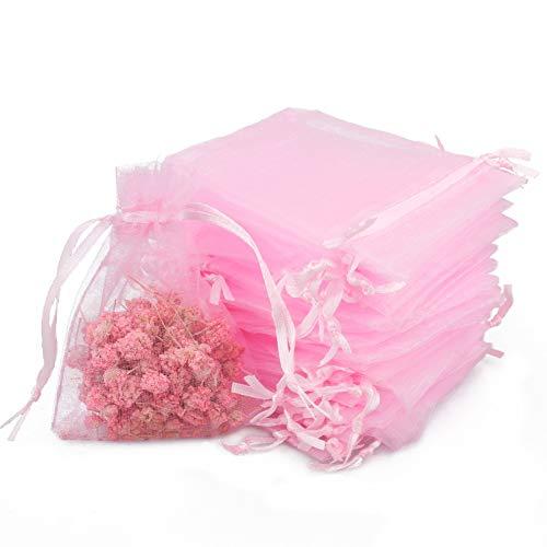 100pcs Bolsas de Organza de Regalo Bolsitas de Organza 7x9cm para Boda Favores, Joyas y Dulces (Rosa)