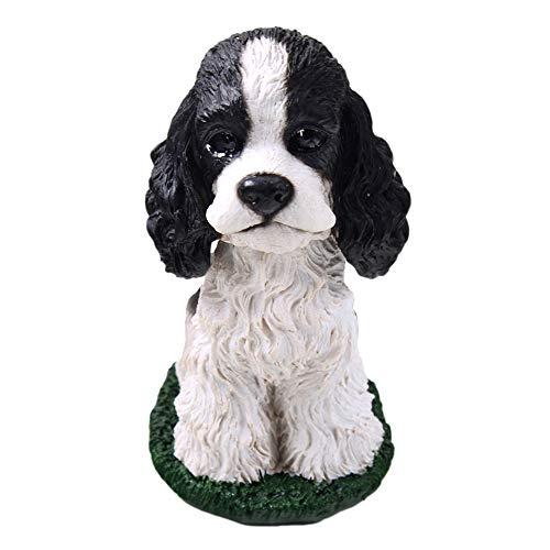 Animal Den Cocker Spaniel Black and White Dog Bobblehead Figure Toy for Car Dash Desk Fun Toy Accessory