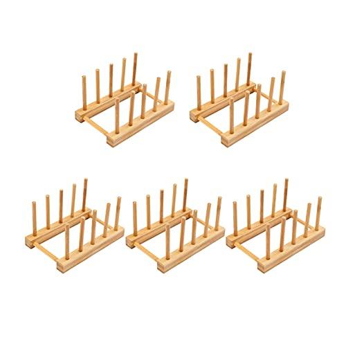 QWXZ Posavasos 5 unids de Madera de Drenaje de Madera Posavasadores Soporte de bambú para Taza de café Pad Mat Placas de Cocina Plato de pie Organizador del gabinete Durable y fácil de Limpiar.