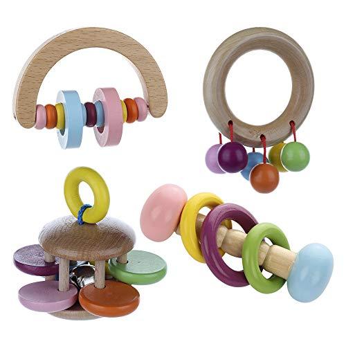 Juego de 4 piezas de juguete para niños con sonajero para bebés de 0 a 18 meses de edad