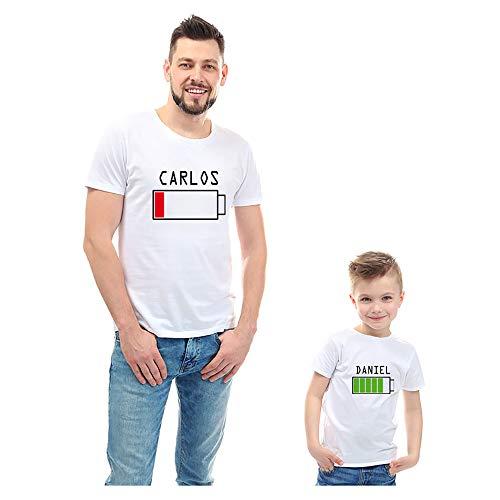 Regalo Personalizado para Padres e Hijos: Pack de Camisetas o Camiseta + Body 'Cargando' Personalizadas con Sus Nombres