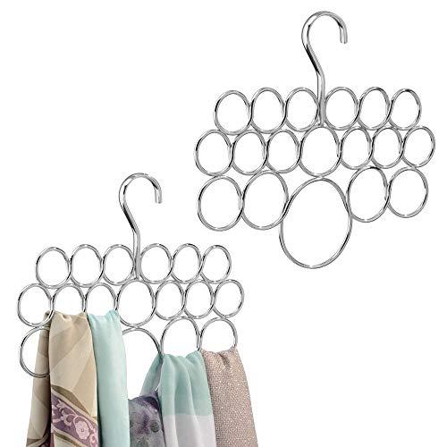 mDesign Schalbügel im 2er Set - für die organisierte Aufbewahrung von Schals und Tüchern in Ihrem Kleiderschrank - ideal als Schalhalter und Schalorganizer - 18 Schlaufen - Farbe: Chrom