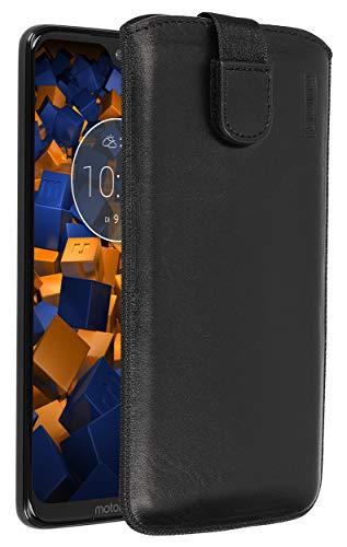 mumbi Echt Ledertasche kompatibel mit Motorola Moto G7 Plus Hülle Leder Tasche Hülle Wallet, schwarz