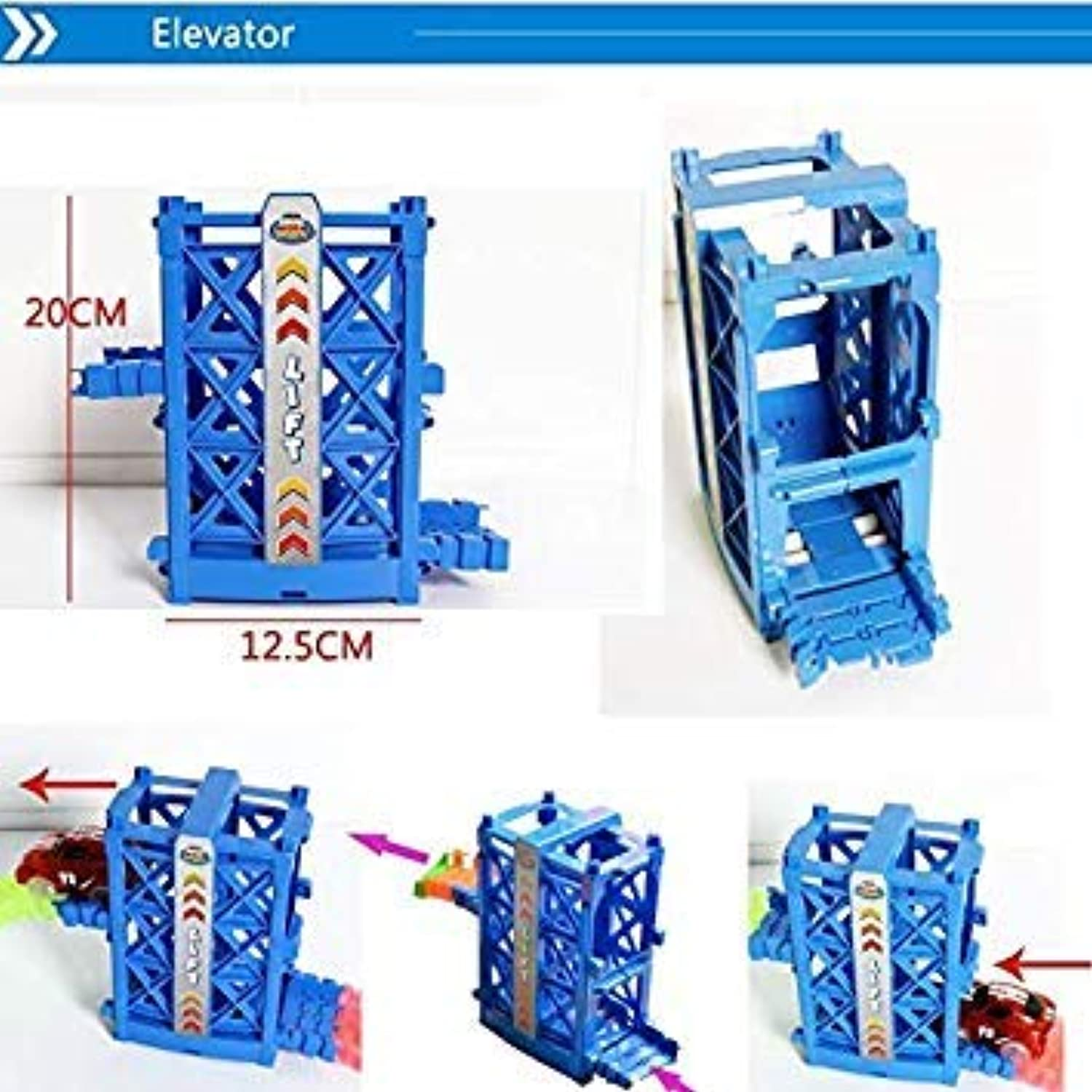 Create A Road Toy Magical Flexible Race Car Track Set Accessory and LED Race Cars Glow in The Dark Racetrack Educational playset 1 Set Elevator