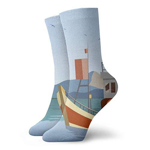 N/A Calcetines de Vestir para Hombre, diseño de Barco de Arrastre
