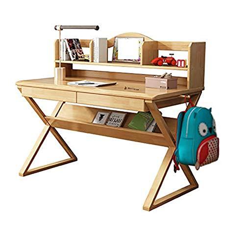 Frame Escritorio de Mesa de Estudio Simple para el hogar, para estudiar, Leer y Dibujar Mesa de Estudio para Estudiantes con estantería, Almacenamiento Espacioso extraíble, Gancho de Doble Cara
