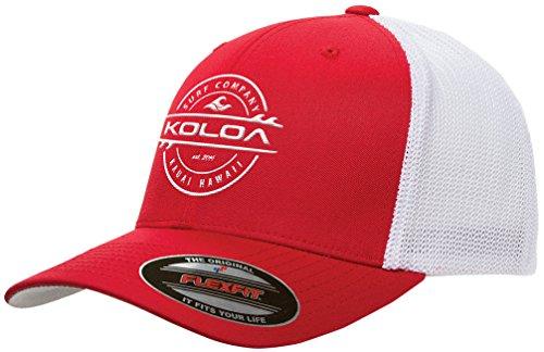 Koloa Surf-Premium Embroidered 34e Flexfit 6511 Truckers Caps Red/WhiteMesh/w