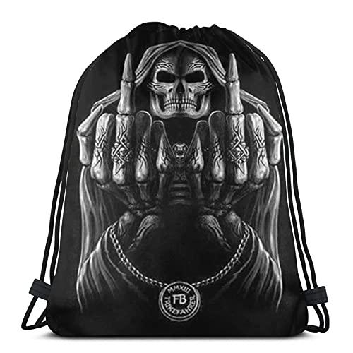 Dark Skull Grim Reaper Middle Finger - Borsa da palestra sportiva con coulisse classica trave bocca posteriore borsa regalo per feste all'aperto portatile zaino per uomini e donne
