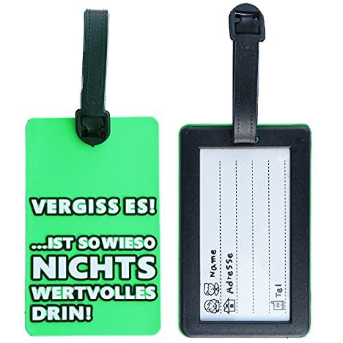 Lustiger Kofferanhänger mit Spruch und Adressschild - Gepäckanhänger / Taschenhänger mit Namensschild (Grün)
