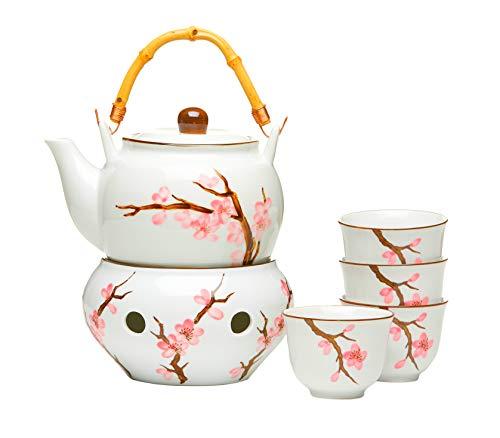 AAF Nommel Japanisches Teeservice Asien 6 tgl. mit 4 Teebechern Stövchen Motiv Sakura Kirschblüte