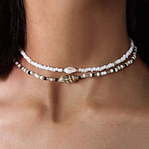 Handcess Boho - Collana girocollo a doppio strato con conchiglia, conchiglia, con perline e conchiglie, per donne e ragazze