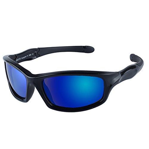 DUCO kinder sport style polarisierenden sonnenbrillen flexiblen rahmen für die jungen und mädchen k006 (Schwarz/Blau)