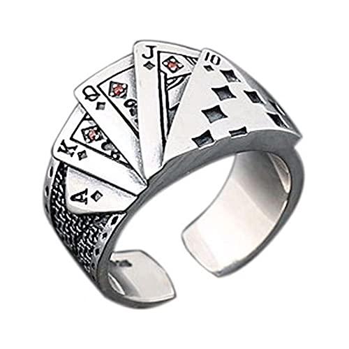 HCMA Anillos de Sello de póquer de Color Plateado Punk, Anillo gótico Recto redimensionable para Mujeres y Hombres, Regalo de joyería vikinga