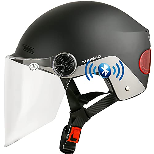 Motorrad Jet Helm Mit Bluetooth Headset,Retro Motorrad Halbhelme Jethelme,3/4 Open Face Vintage Adult Unisex Jet Helm Crash Halbhelm mit Sonnenblende Scooter Street Motorrad Jethelm C,56~62cm