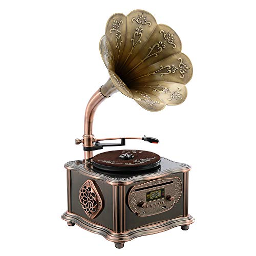 Bronze Vintage Classic Retro Antique Phonograph Gramophone Turntable Vinyl Record Player Stereo Speakers Home Decoration System Control 33/45 RPM FM AUX USB CD Ouput Bluetooth 4.2